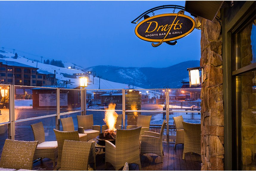 Westgate Park City Drafts Patio at Night