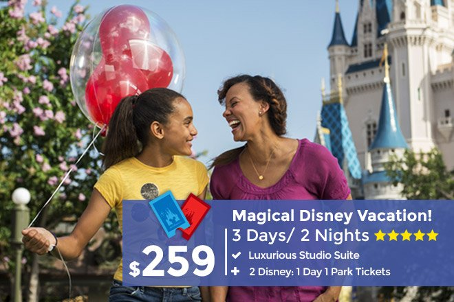 3-Day/ 2-Night Vacation Package includes 2 Disney Tickets ...