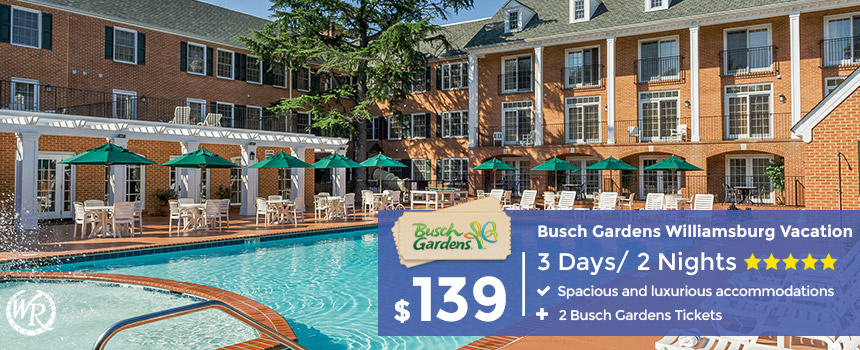 3-Day Stay in Williamsburg plus 2 Busch Gardens Tickets