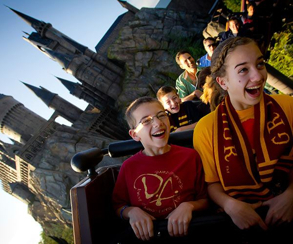 Kids Riding Harry Potter Ride at Universal Orlando | Vacation in Orlando with Universal Studios