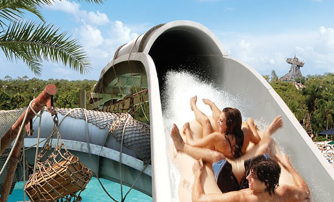 Water slide at Typhoon Lagoon at Disney in Orlando
