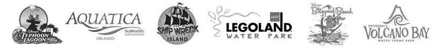 Typhoon Lagoon logo | Aquatica Logo | Shiwreck island logo | Legoland Waterpark logo | Blizzard Beach Logo | Volcano Bay Logo